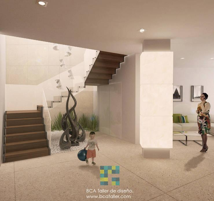 El Lago : Pasillos y recibidores de estilo  por BCA taller de diseño