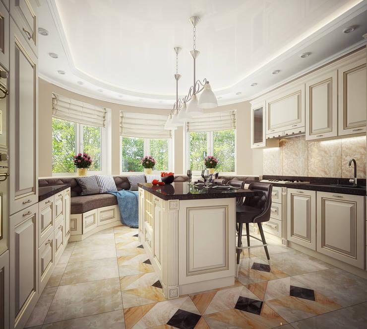 Проект 2х этажного дома в современном классическом стиле: Кухни в . Автор – Инна Михайская