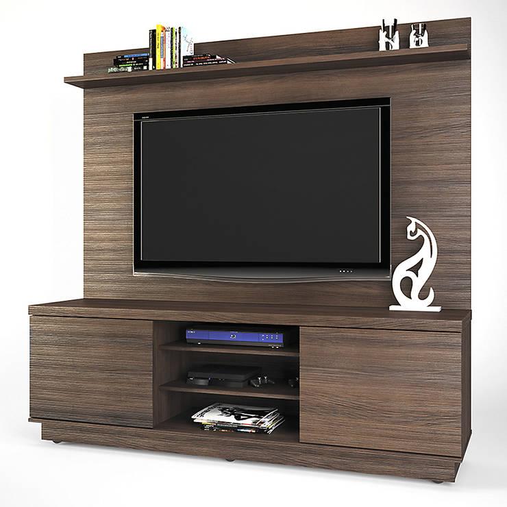MODELO 4A  - MUEBLE DE PARED HOME THEATER: Salas de entretenimiento de estilo  por 3 DECO, Minimalista Compuestos de madera y plástico