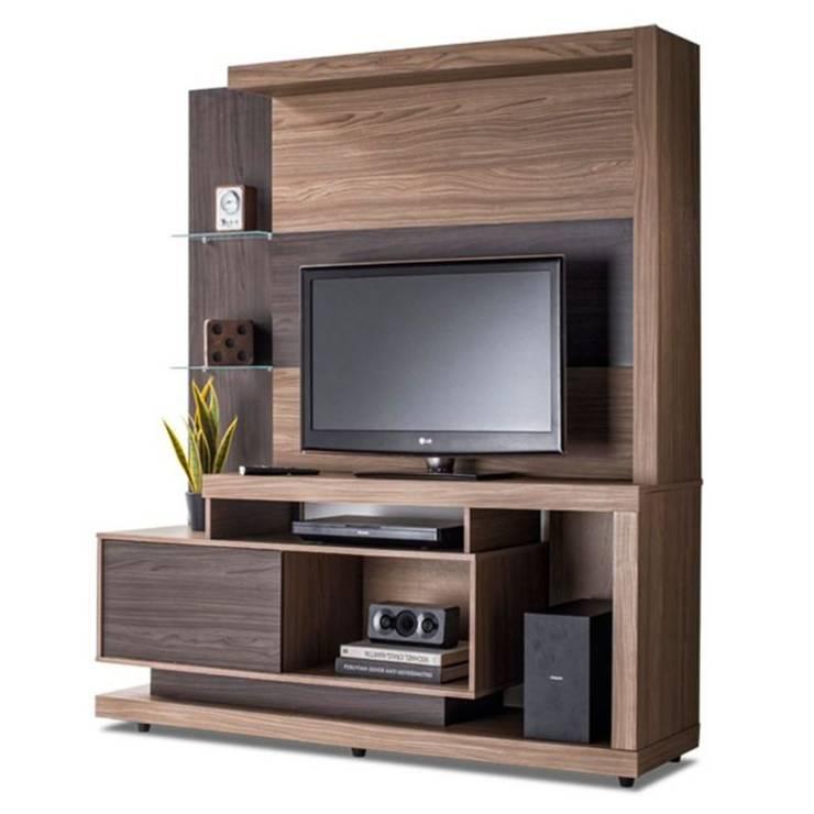 MODELO 6A  - MUEBLE DE PARED HOME THEATER: Salas de entretenimiento de estilo  por 3 DECO, Minimalista Compuestos de madera y plástico