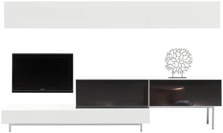 MODELO 2B  - MUEBLE MODULAR -  HOME THEATER: Salas / recibidores de estilo  por 3 DECO, Minimalista Compuestos de madera y plástico