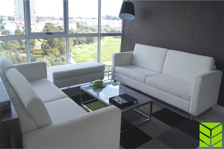 Departamento La Vista Country Club: Salas de estilo  por Beta Factoria de Puebla SA de CV, Moderno