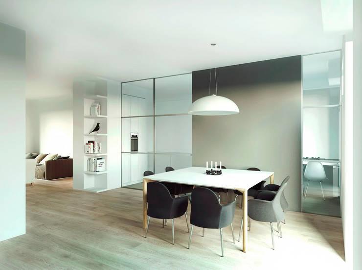 Вид на гостиную и столовую : Столовые комнаты в . Автор – ECOForma