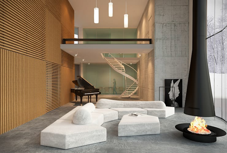Вид на гостиную: Гостиная в . Автор – ECOForma