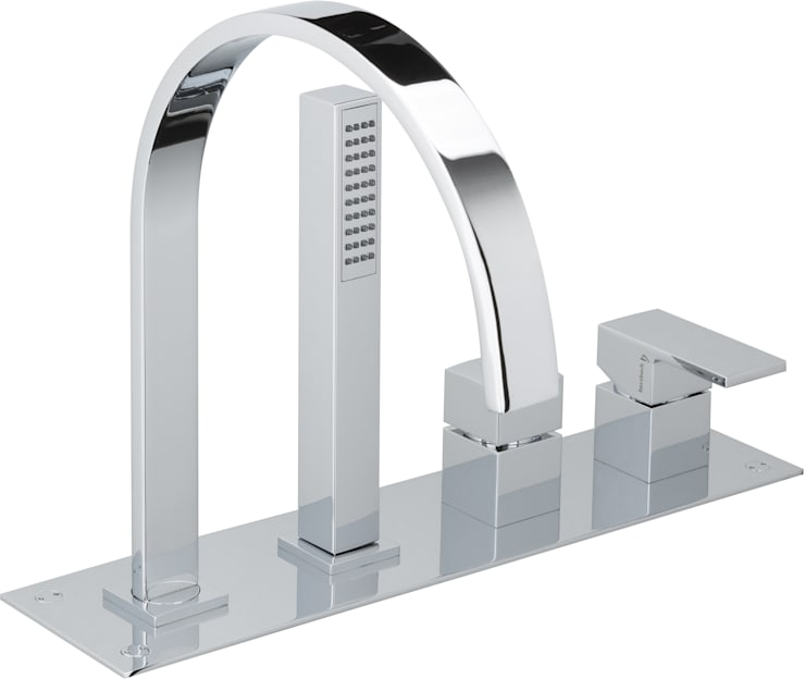 Herzbach Neo Castell 4-Loch-Wannenarmatur für Fliesenrandmontage mit Wannenauslauf: moderne Badezimmer von EIKORA - Badezimmer und Wohnideen Versand