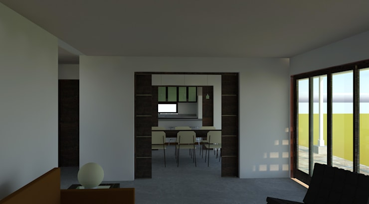 Casa N2 MP: colonial Living room by ARQvision Sustainable Architecture / FASTSTEEL