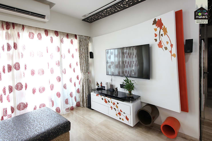 Last View of the Living Room:  Living room by home makers interior designers & decorators pvt. ltd.