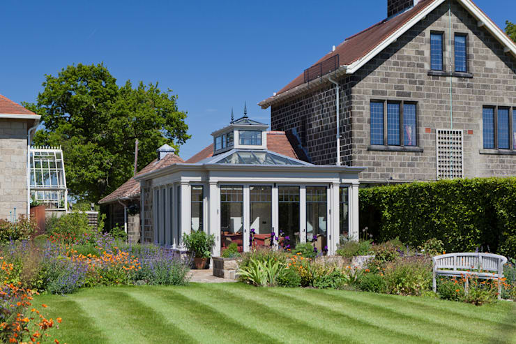 Conservatory with Bronze Casement Windows on a Period Farmhouse:  Conservatory by Vale Garden Houses