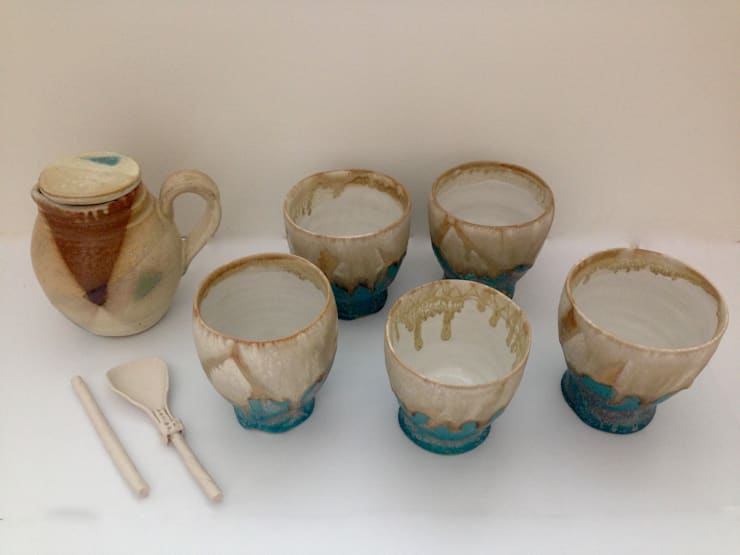 Group of Asian Style Cups, Milk Jug, spoon and mixer:  Household by Ceramic Language. Adriana Sambrano