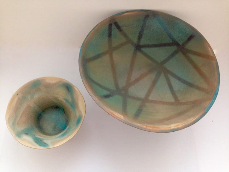 Plate and pot with geometric patter:  Household by Ceramic Language. Adriana Sambrano