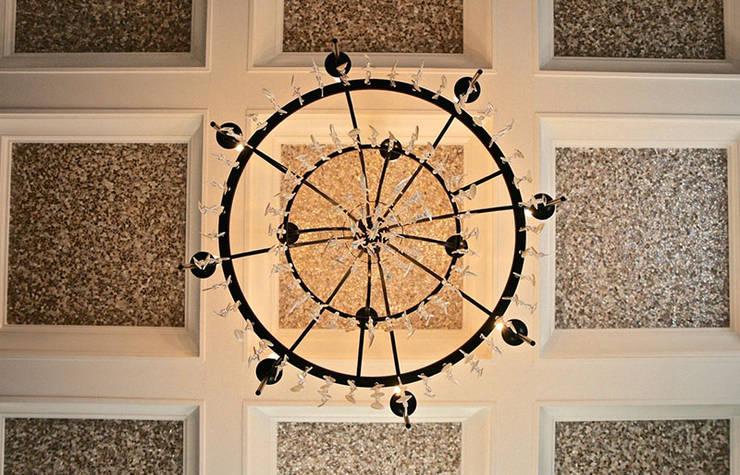 Random Chip Freshwater Mosaic Ceiling:  Dining room by ShellShock Designs,