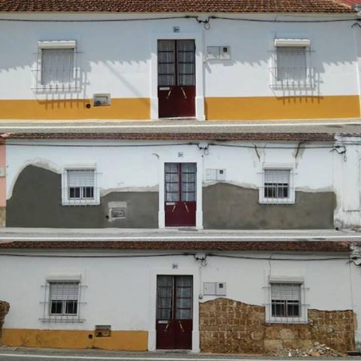 Recuperação de fachada em moradia muito antiga (antes, durante e depois):   por Atádega Sociedade de Construções, Lda