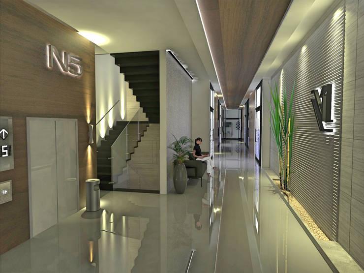 TORRE V1: Estudios y oficinas de estilo  por dlp Arquitectos