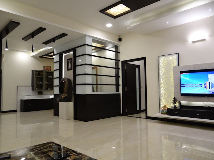 View of Pooja room from Living:  Living room by Hasta architects