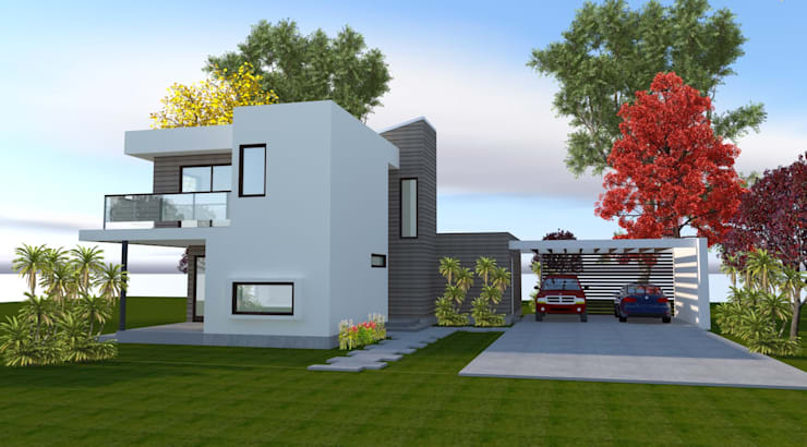 Vista Acceso: Casas de estilo  por ARQvision BIM Sustainable Architecture