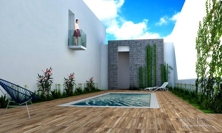 Casa CHC: Jardines de estilo  por Perspectiva Arquitectos México