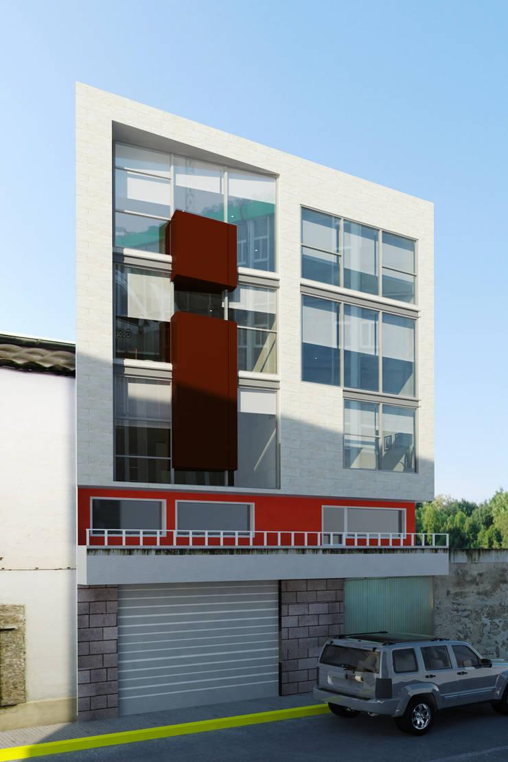 Fachada principal Casas minimalistas de PRISMA ARQUITECTOS Minimalista Concreto