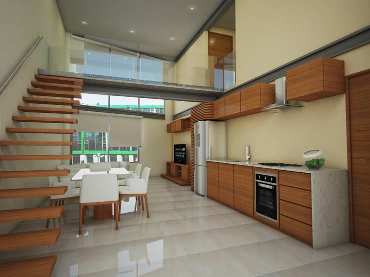 Cocina - comedor: Casas de estilo  por PRISMA ARQUITECTOS