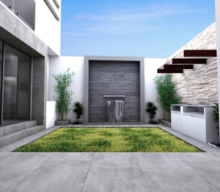 Jardin: Casas de estilo  por PRISMA ARQUITECTOS