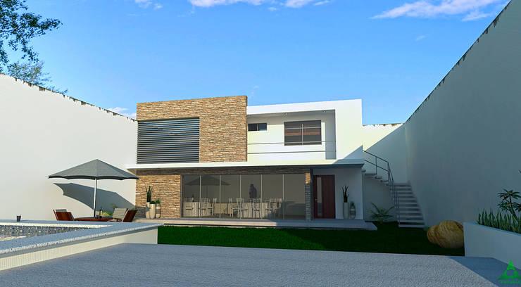 Area posterior.: Casas de estilo  por PRISMA ARQUITECTOS