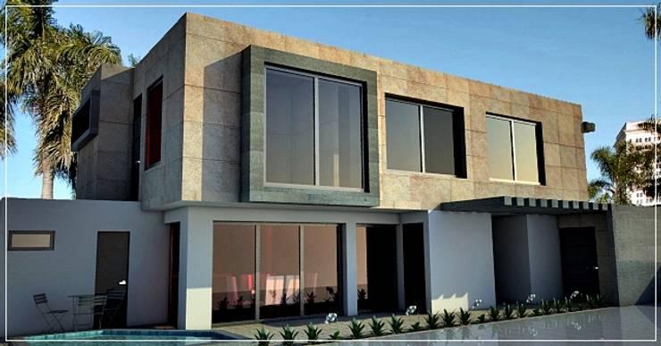 Fachada Lateral - interior: Casas de estilo  por PRISMA ARQUITECTOS