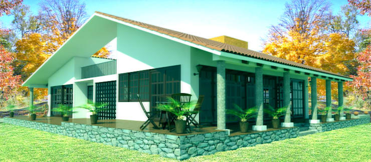 fachada 2: Casas de estilo  por PRISMA ARQUITECTOS