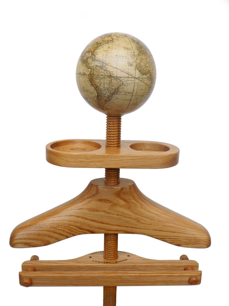 Hatstand Valet in oak with a handmade globe hat rest:  Dressing room by Gentleman's Valet Company