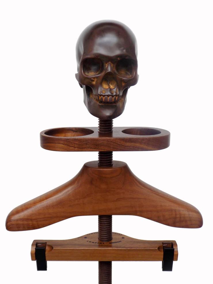 Hatstand Valet in walnut with dark bronze skull hat rest:  Bedroom by Gentleman's Valet Company