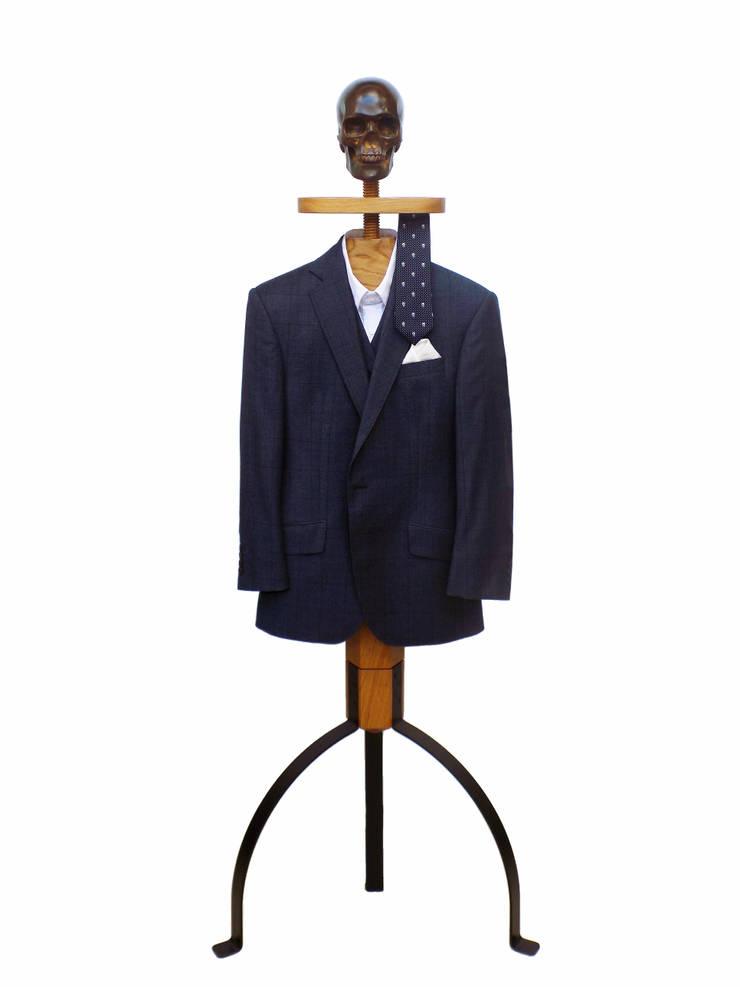 Hatstand Valet in oak with dark bronze skull hat rest:  Dressing room by Gentleman's Valet Company