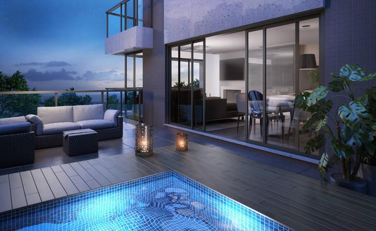 Terraço com piscina: Piscinas  por André Petracco Arquitetura