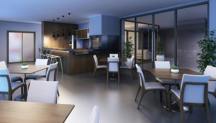 Salão de festas: Salas de jantar  por André Petracco Arquitetura