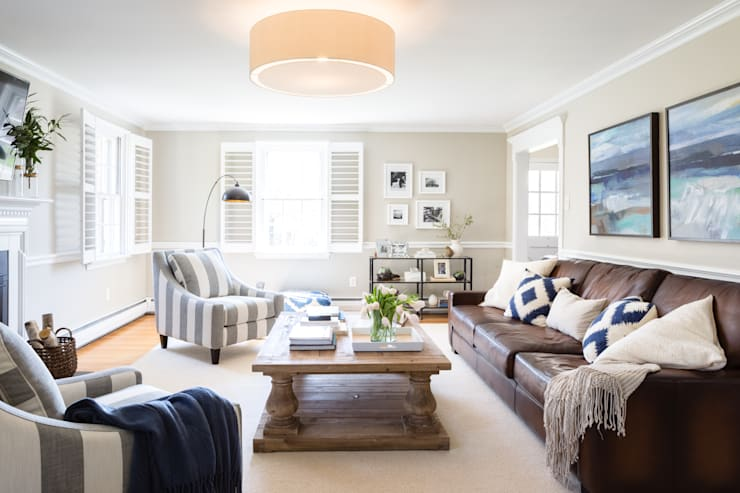 Devon Family Room :  Living room by Larina Kase Interior Design