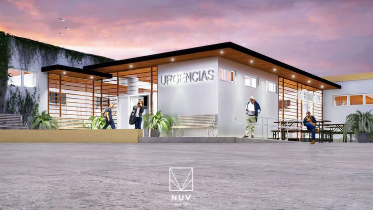 Fachada Urgencias ISSSTE: Hospitales de estilo  por NUV Arquitectura