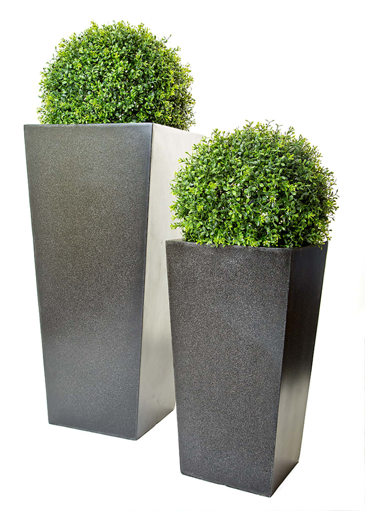 Artificial Boxwood Topiary Ball In 90cm Tall Granite Look Planter: Garden  By Artificial Green