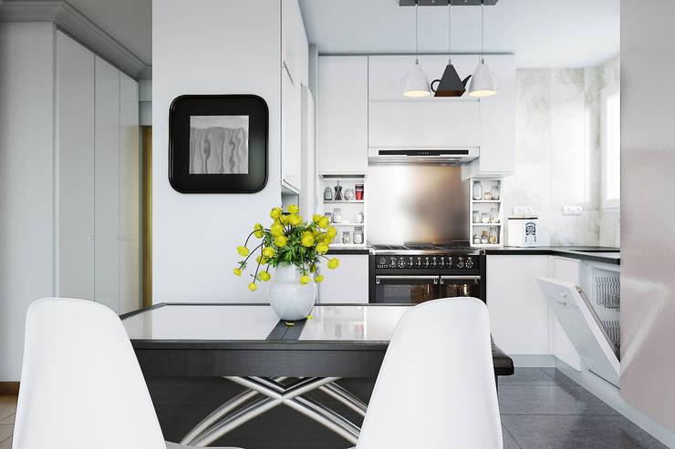 Salon/cuisine : Cuisine de style de style Moderne par  ElenKova architecture