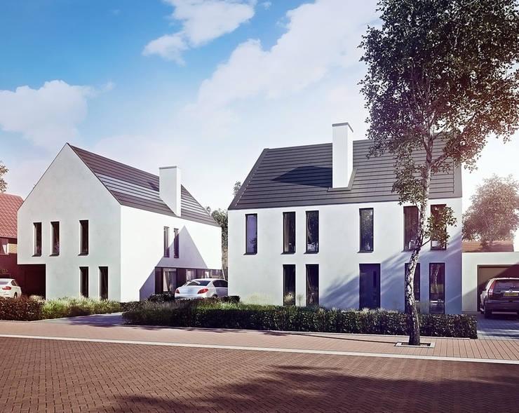 Duurzame tweekapper en vrijstaande woning:  Huizen door FAB5+, Modern