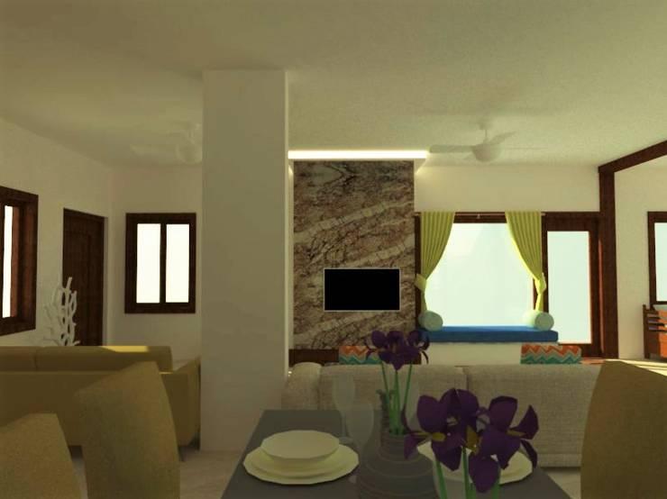 غرفة المعيشة تنفيذ Urban Shaastra