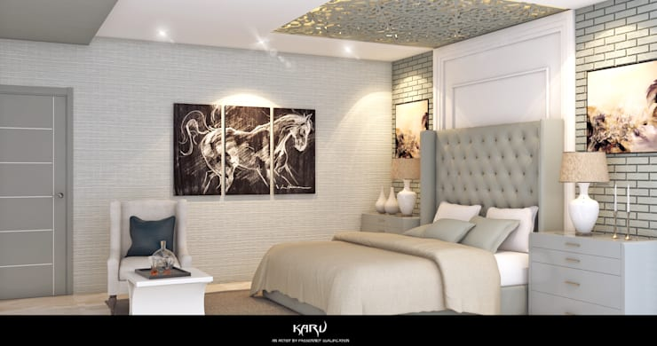 BEDROOM DESIGN:  Bedroom by KARU AN ARTIST