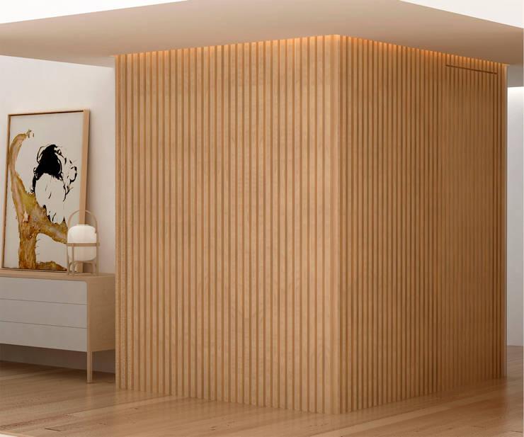 Corridor & hallway by Studio Transparente, Mediterranean Wood Wood effect