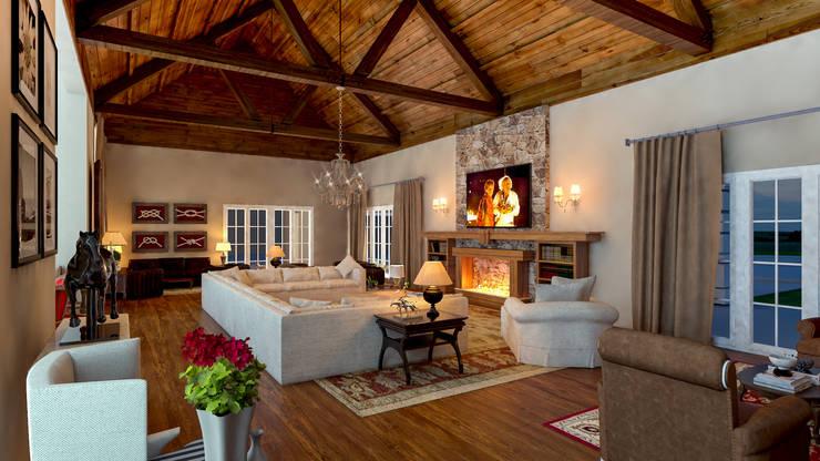 Salas de estilo rústico por Éfeso Arquitetura & Construção