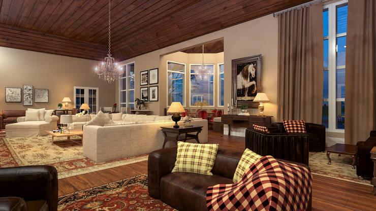 غرفة المعيشة تنفيذ Éfeso Arquitetura & Construção