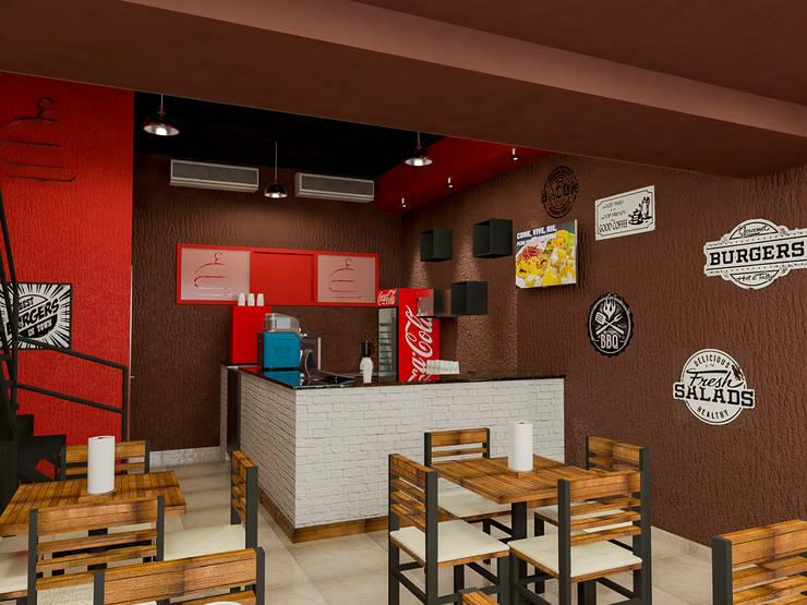 Diseño Restaurant Bocados Burger & Grill: Restaurantes de estilo  por Sixty9 3D Design