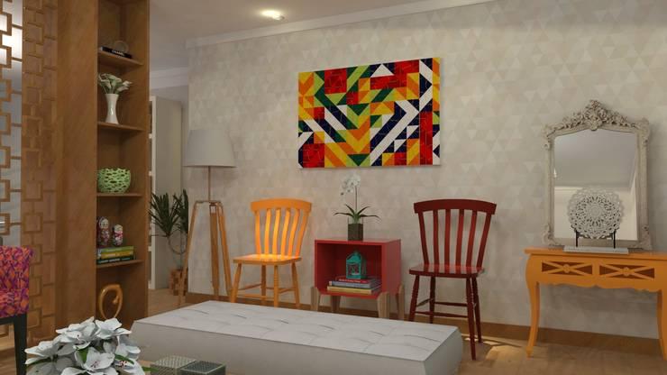 Decoração de Apartamento em Salvador-Ba: Salas de estar  por Maria Julia Faria Arquitetura e Interior Design