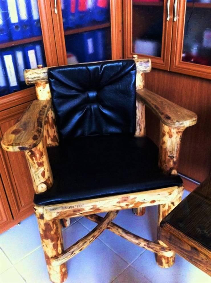Coşkun Ahşap Dekorasyon – deri kaplama doğal ahşap sandalye:  tarz , Rustik Ahşap Ahşap rengi