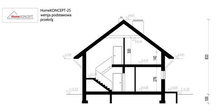 Projekt domu HomeKONCEPT-25- przekrój: styl nowoczesne, w kategorii Domy zaprojektowany przez HomeKONCEPT | Projekty Domów Nowoczesnych