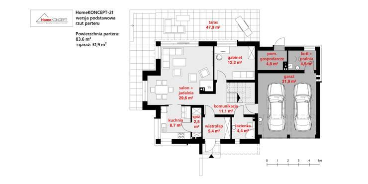 Maisons de style  par HomeKONCEPT | Projekty Domów Nowoczesnych