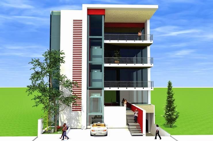 Oficinas Zona plateada:  de estilo  por ARQGC GRUPO CONSTRUCTOR