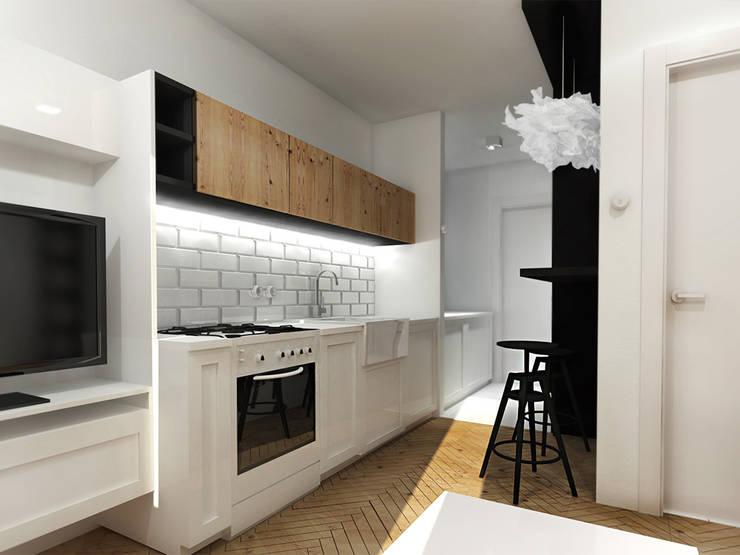 Kawalerka 18m2 | ZAZA Studio: styl , w kategorii Kuchnia zaprojektowany przez ZAZA studio