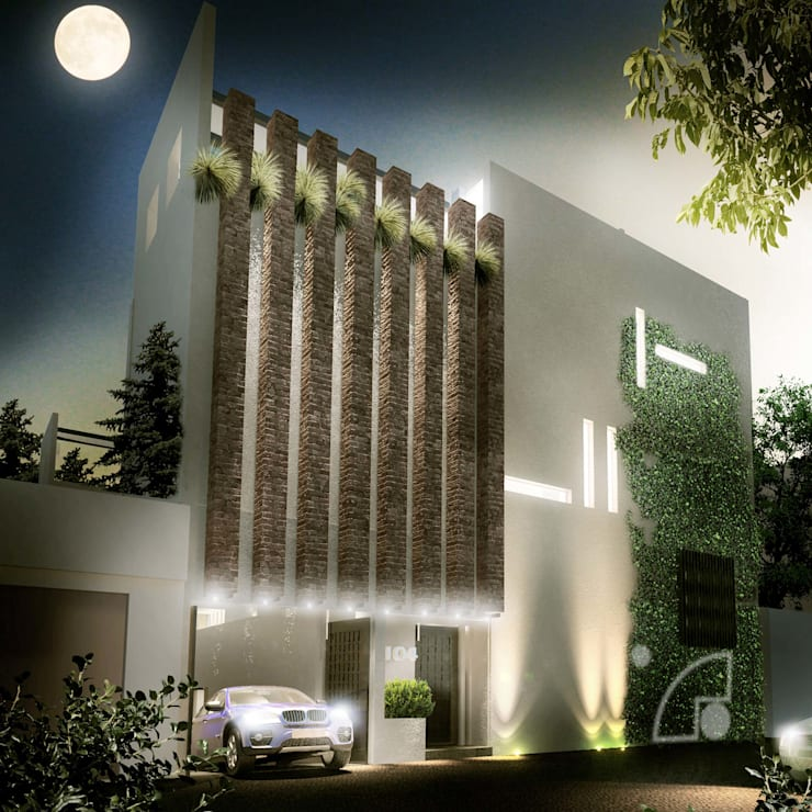 Fachada principal: Casas de estilo  por ECM arquitectura
