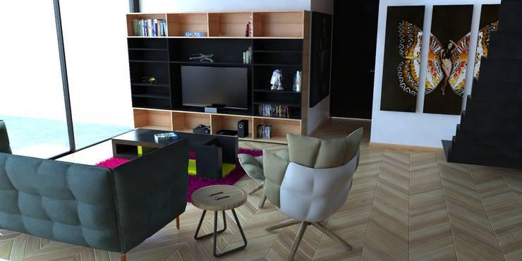 Propuesta interiores.: Salas de estilo  por Eidética